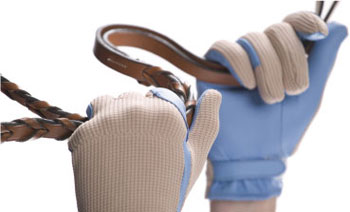 Knit-Back Glove with Blue Sheepskin Palm by Signature-Leather