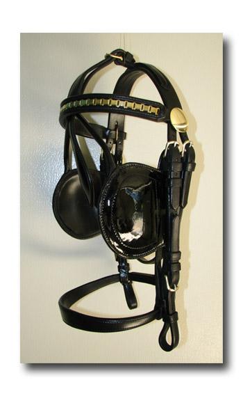Black Leather Oversize Horse Padded Harness