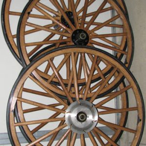 Set of four wooden wheels - brake discs